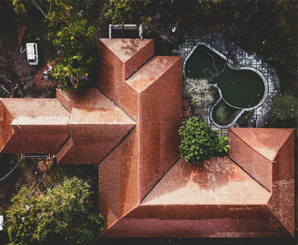 Aerial photo of residential roof