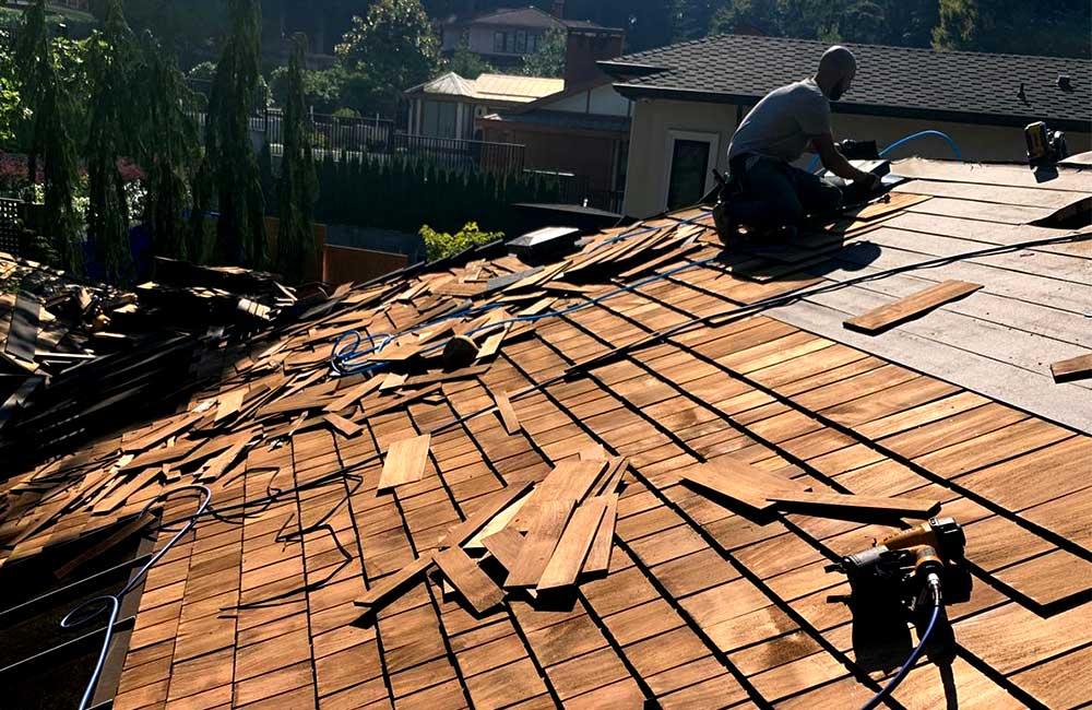 Cedar roof with skylights construction