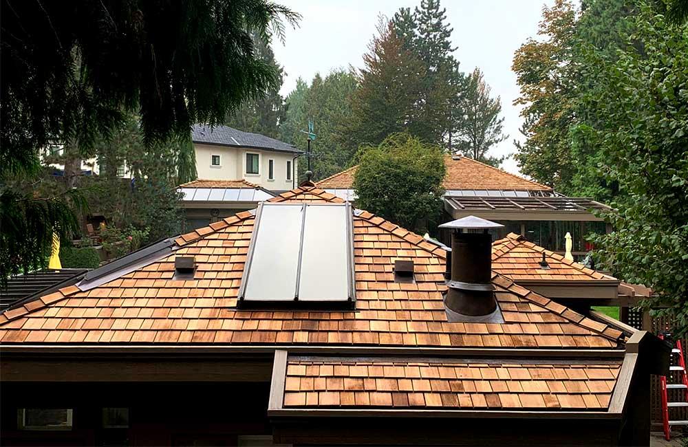 Cedar roof with skylights