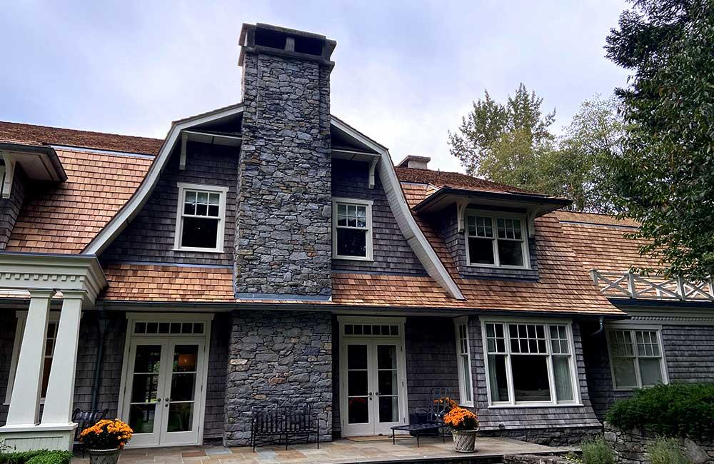 Cedar roof on stone house