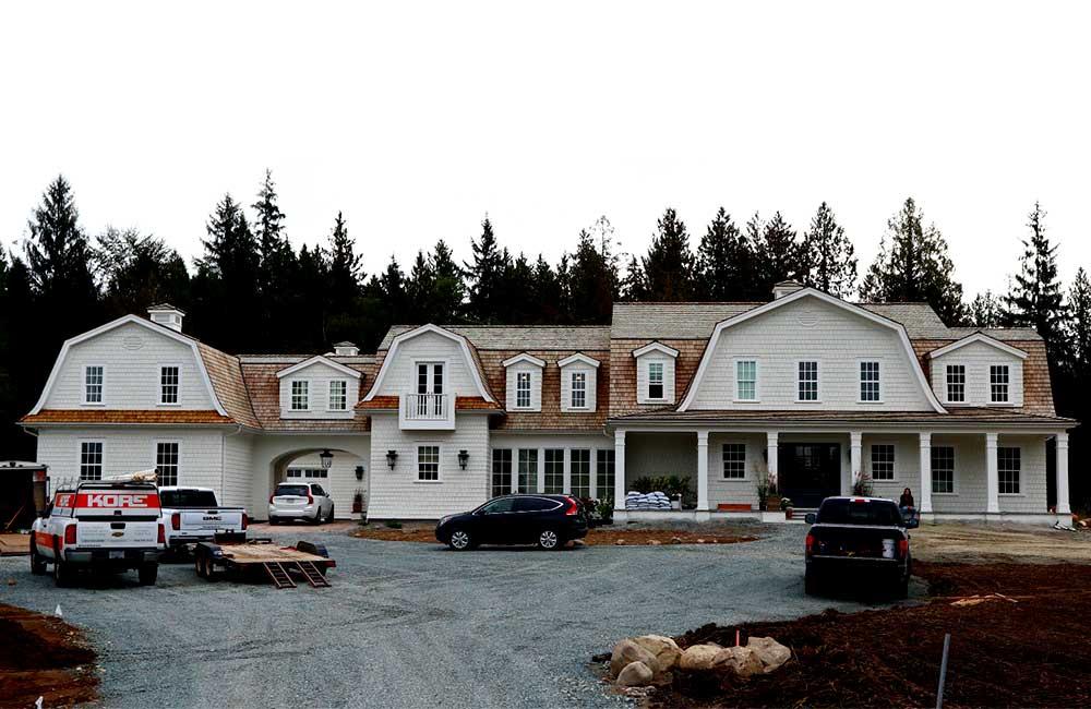 Cedar roof on house wide angle