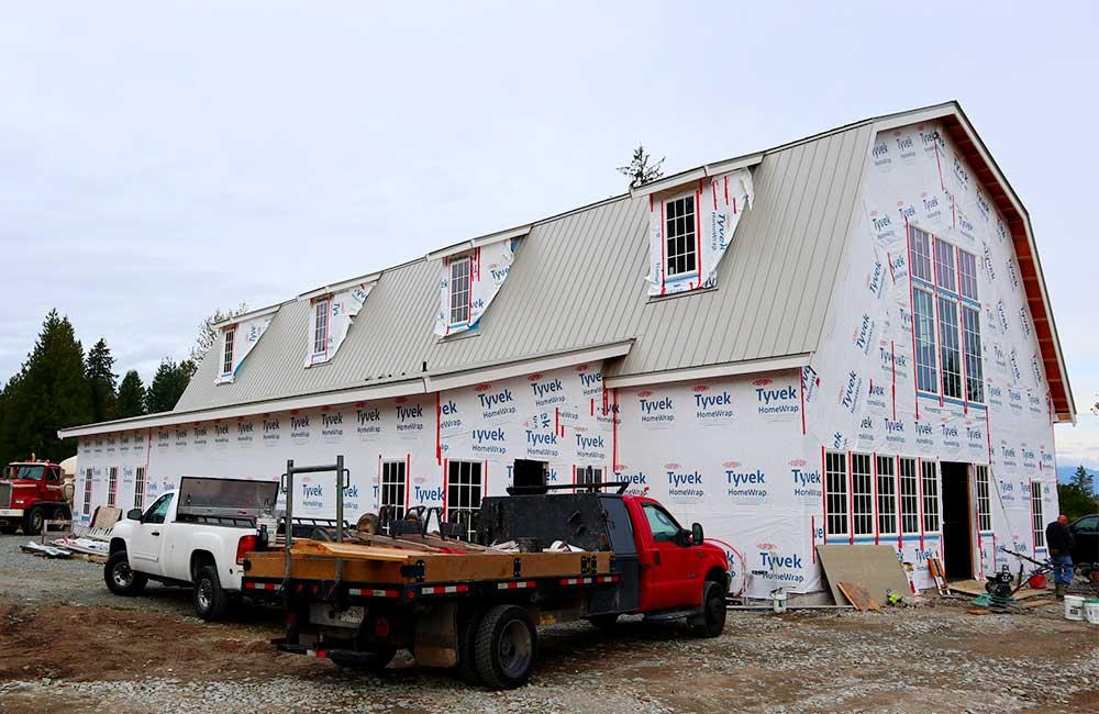 Metal roof on new barn