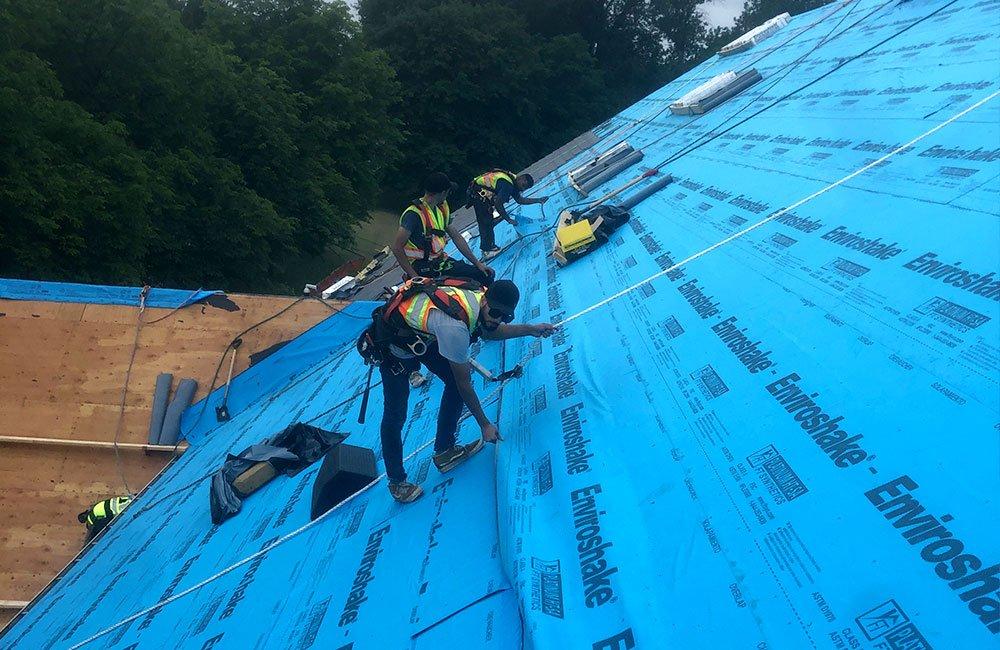 Enviroshake roof on schou educational center construction