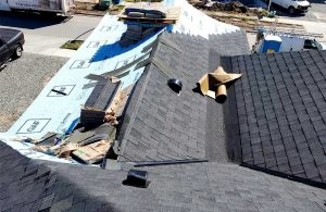 Asphalt shingle moire black roof and dead valley